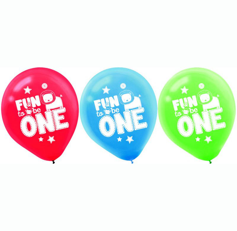 BALLOONS LATEX - ONE WILD BOY FUN TO BE ONE - PACK OF 6