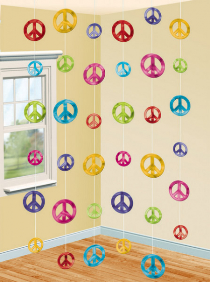 HIPPIE PEACE SIGN FEELING GROOVY STRINGS DECORATION