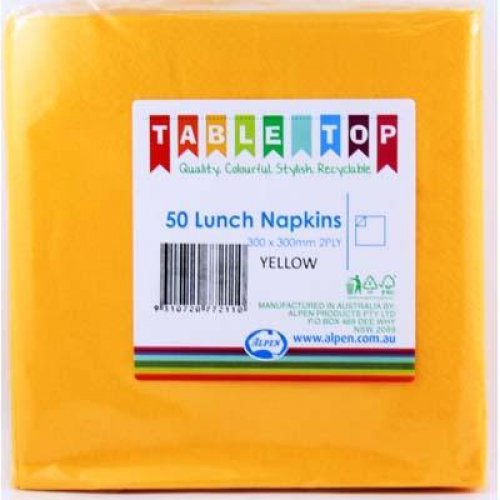 NAPKINS - YELLOW LUNCH PK 50