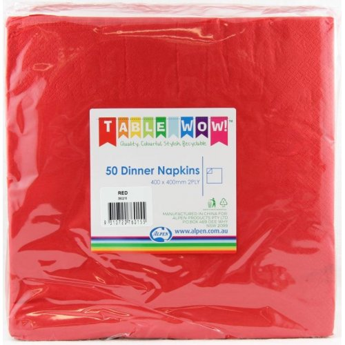 CHRISTMAS RED DINNER NAPKINS - PACK 50