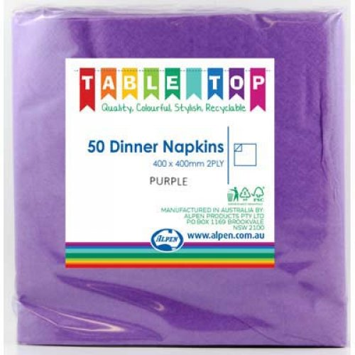 NAPKINS - PURPLE DINNER PK 50