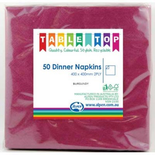 NAPKINS - BURGUNDY/MAROON DINNER PACK 50