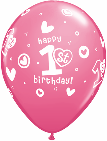 BALLOONS LATEX - 1ST BIRTHDAY PINK & WHITE PACK OF 6