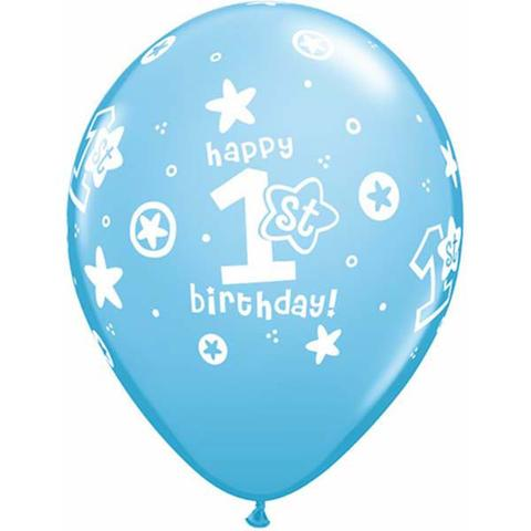 BALLOONS LATEX - 1ST BIRTHDAY BOY BLUE & WHITE PACK 6
