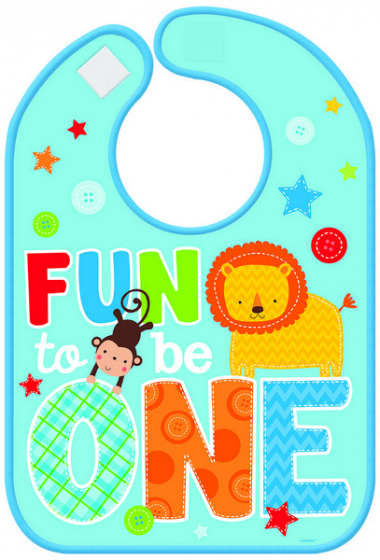 ONE WILD BOY DESIGN 1ST BIRTHDAY VINYL BIB