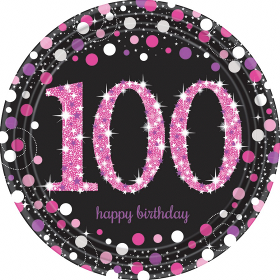 100TH BIRTHDAY DINNER PLATES SPARKLING PINK - PACK 8