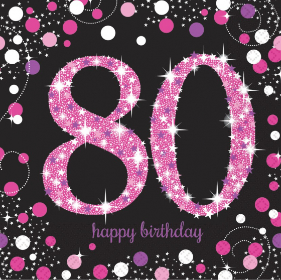 80TH BIRTHDAY NAPKINS PINK SPARKLING CELEBRATION - PACK OF 16