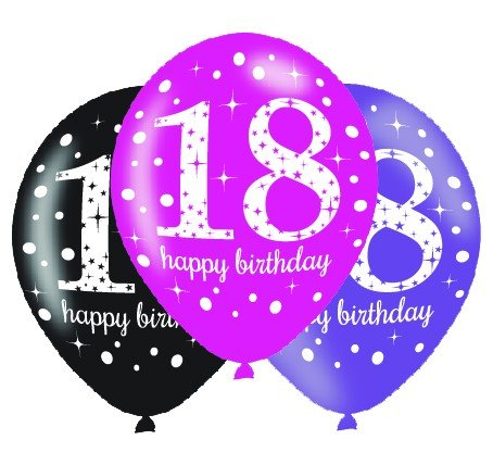 BALLOONS LATEX - 18TH PINK CELEBRATION ASSORTMENT - PACK 24