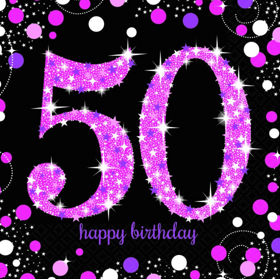 50TH BIRTHDAY NAPKINS PINK SPARKLING CELEBRATION - PACK OF 16