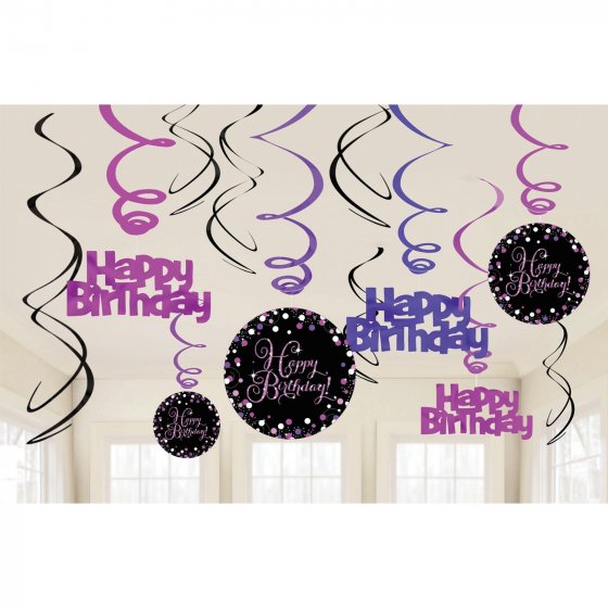 HAPPY BIRTHDAY SWIRLS SPARKLING PINK CELEBRATION - PACK 12