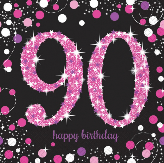 90TH BIRTHDAY NAPKINS PINK SPARKLING CELEBRATION - PACK OF 16