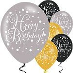 BALLOONS LATEX - BIRTHDAY SPARKLING ASSORTMENT - PACK 24