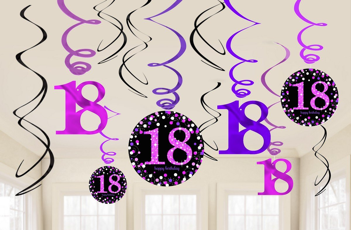 18TH BIRTHDAY HANGING SWIRLS - SPARKLING PINK PACK 12