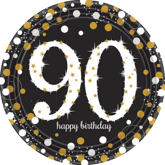 90TH BIRTHDAY DINNER PLATES SPARKLING CELEBRATION - PACK 8