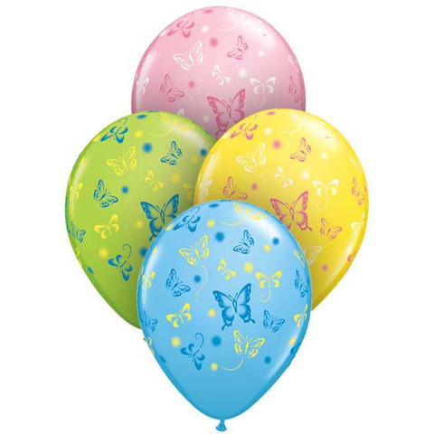 BALLOONS LATEX - BUTTERFLIES PACK OF 6