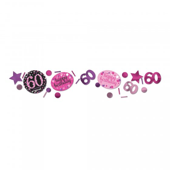 60TH BIRTHDAY SCATTERS SPARKLING - PINK, SILVER & BLACK