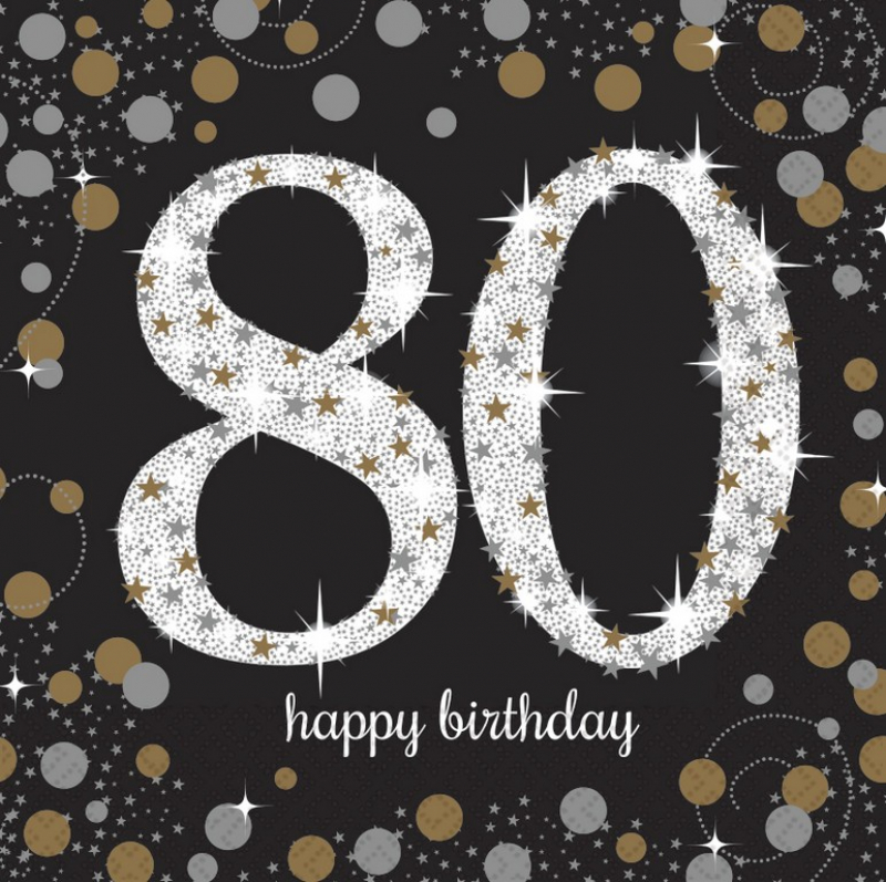 80TH BIRTHDAY NAPKINS SPARKLING BLACK & GOLD - COCKTAIL PK OF 16