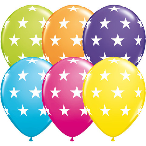 BALLOONS LATEX - BIG STARS TROPICAL ASSORTMENT PACK OF 50