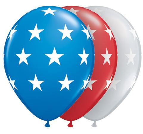 BALLOONS LATEX - PATRIOTIC RED,WHITE & BLUE STAR MIX - PACK 6