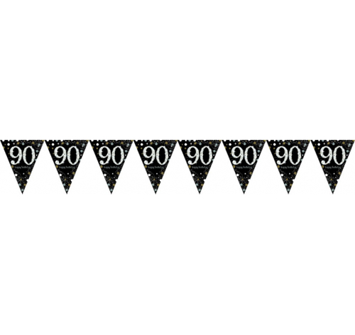 90TH BIRTHDAY PENNANT FLAG BUNTING - GOLD, BLACK & SILVER