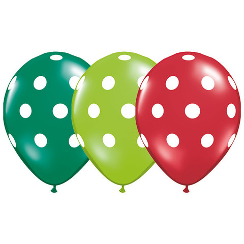 BALLOONS LATEX - POLKA DOTS RED, LIME & EMERALD ASSORTED PACK 6