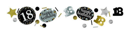 18TH BIRTHDAY SCATTERS SPARKLING - SILVER, GOLD & BLACK