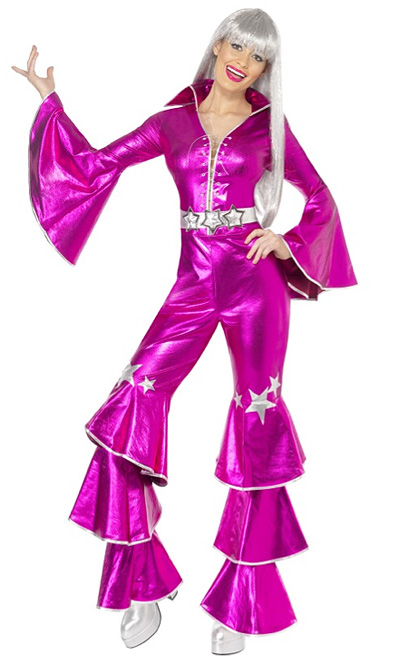 1970'S ABBA DANCING QUEEN JUMPSUIT HOT PINK - SMALL