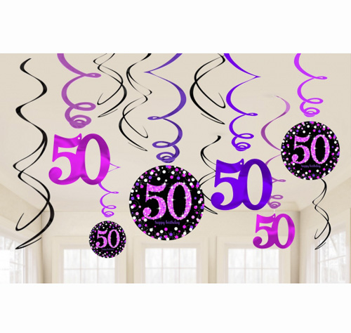 50TH BIRTHDAY HANGING SWIRLS - SPARKLING PINK PACK 12