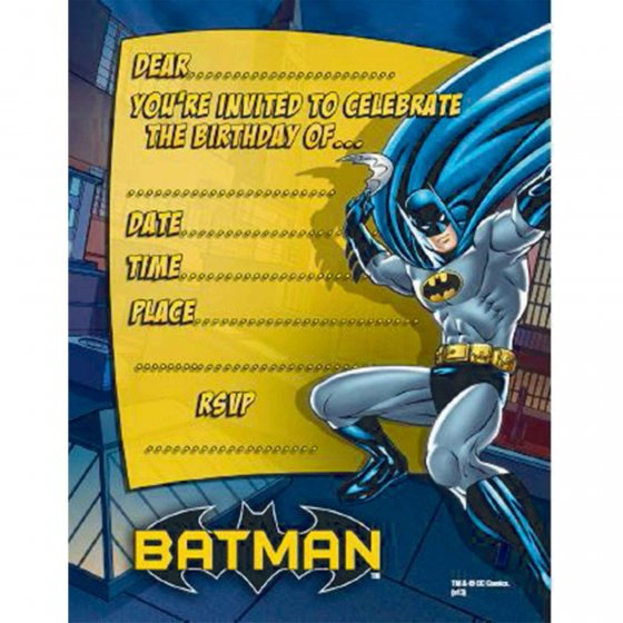 BATMAN PARTY INVITATIONS PACK OF 8