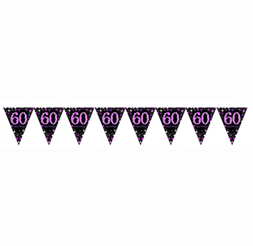 60TH BIRTHDAY PENNANT FLAG BUNTING - PINK & BLACK