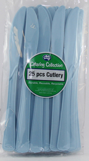 DISPOSABLE CUTLERY - PALE BLUE KNIVES PK 25