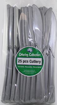 DISPOSABLE CUTLERY - SILVER KNIVES PK 25