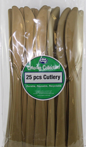 DISPOSABLE CUTLERY - GOLD KNIVES PK 25