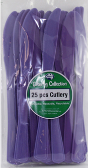 DISPOSABLE CUTLERY - PURPLE KNIVES PK 25