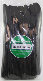 DISPOSABLE CUTLERY - BLACK KNIVES PK 25