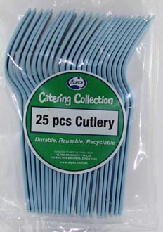 Image of Disposable Cutlery  Pale Blue Fork Pk 25