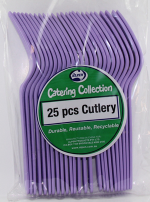 DISPOSABLE CUTLERY - LAVENDER FORKS PK 25