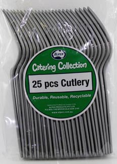 DISPOSABLE CUTLERY - SILVER FORKS PK 25