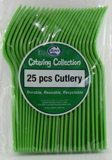 DISPOSABLE CUTLERY - LIME FORKS PK 25