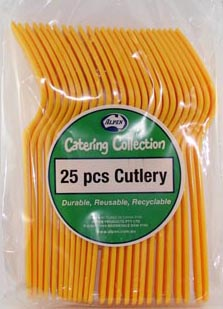 DISPOSABLE CUTLERY - YELLOW FORKS PK 25