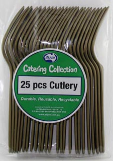 DISPOSABLE CUTLERY - GOLD FORKS PK 25