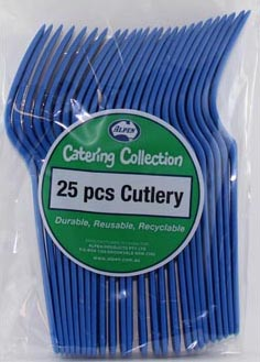 DISPOSABLE CUTLERY - BLUE FORKS PK 25