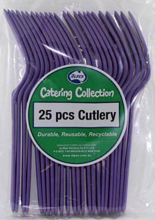 DISPOSABLE CUTLERY - PURPLE FORKS PK 25