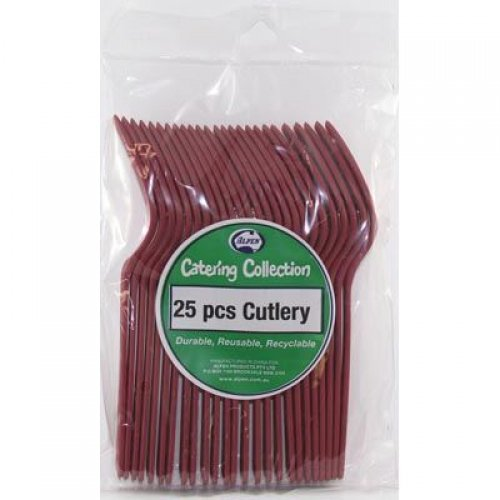 DISPOSABLE CUTLERY - BURGUNDY/MAROON FORKS PK 25