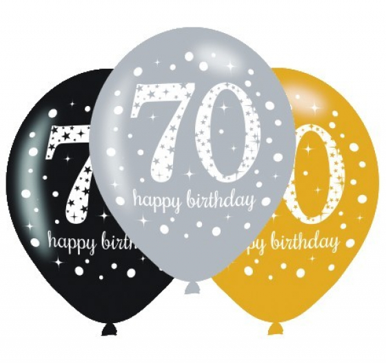 BALLOONS LATEX - 70TH SPARKLING ASSORTMENT - PACK 24