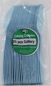 DISPOSABLE CUTLERY - PALE BLUE SPOONS PK 25