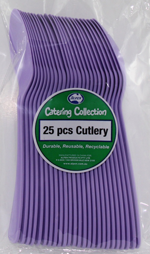 DISPOSABLE CUTLERY - LAVENDER SPOONS PK 25