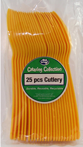 DISPOSABLE CUTLERY - YELLOW SPOONS PK 25