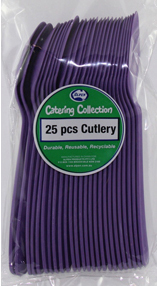 DISPOSABLE CUTLERY - PURPLE SPOONS PK 25