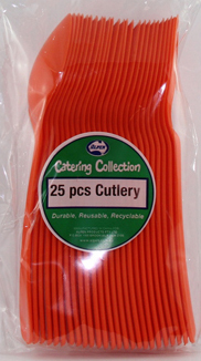 DISPOSABLE CUTLERY - ORANGE SPOONS PK 25